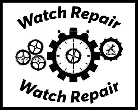 watch repair in black with an inscription on a white background