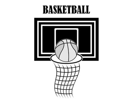 basketball backboard and inscription in black colors on a white background