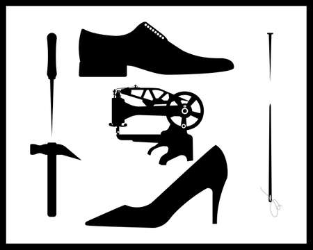 shoe repair in black style on white background Stock Illustratie
