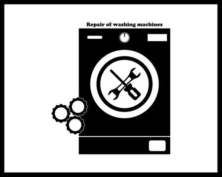 repair of washing machines in black tone on a white background