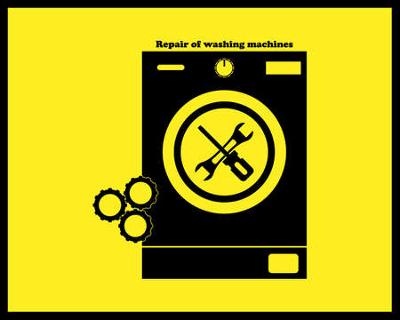 repair in a black tone of washing machines on a yellow background Stock Illustratie