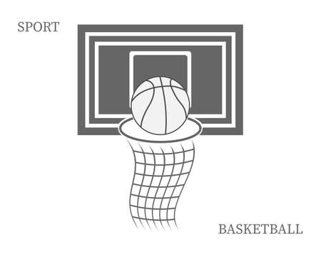 basketball backboard with inscriptions in gray tones on a white background
