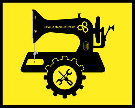 Repair of sewing machines in black tone on a yellow background