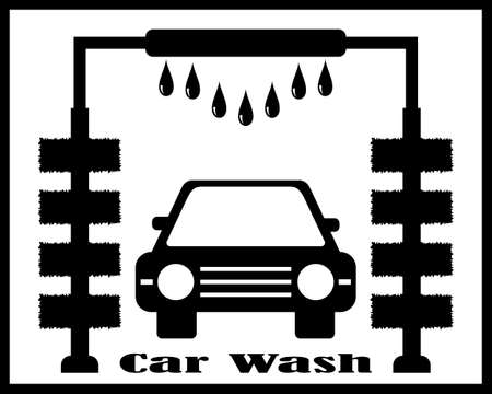 Car wash on a stand with a washing car on a yellow background