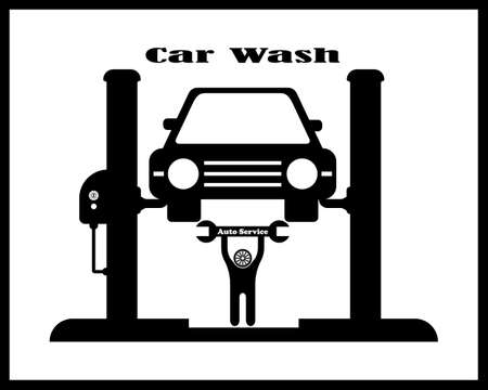 Auto service icon with the vehicle on the stand in black tone on a white background