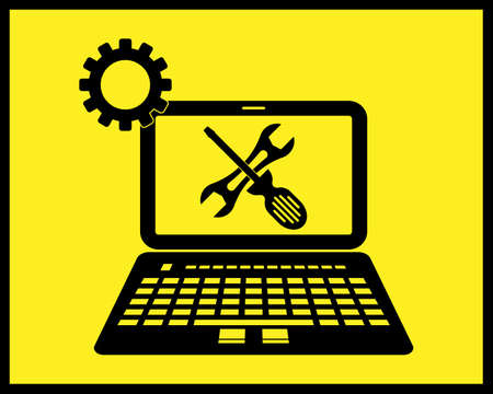 computer repair icon in black tone on yellow background