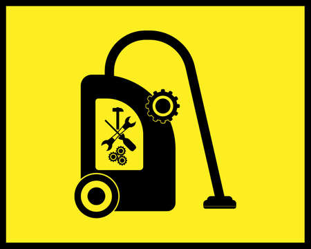 vacuum cleaner repair icon in black tone on yellow background Stock Illustratie