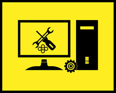 repair stationary computer icon in black tone on yellow background