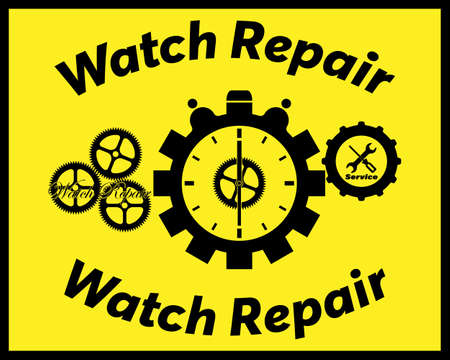 watch repair in black with an inscription on a yellow background Illustration