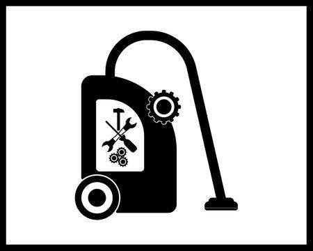 vacuum cleaner repair icon in black tone on white background