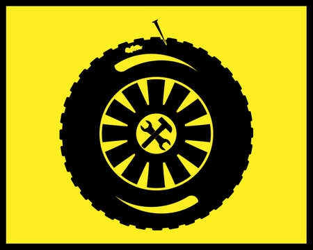 car wheel repair icon in black on yellow background