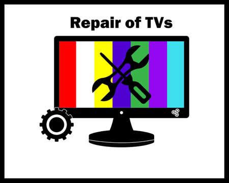 repair of television in black and shades of color on a white background
