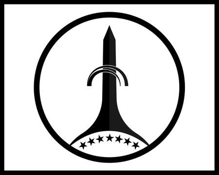 Washington Monument in black on white background