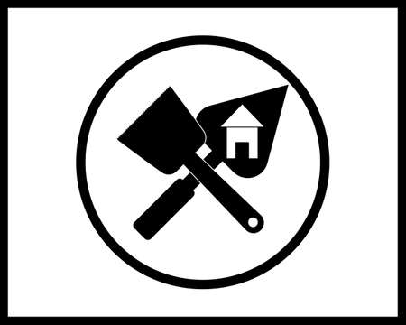 trowel and brush icon in black style in a circle on white background Illustration