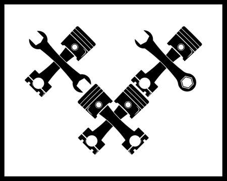 piston from the engine in black style on a white background Illustration