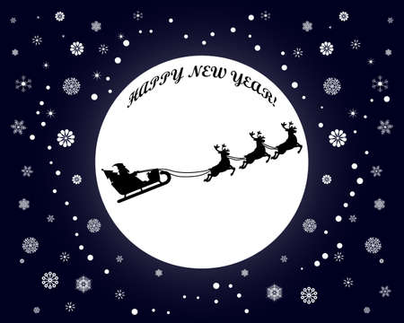 new year vector with snowflakes and santa claus on dark blue background Illustration