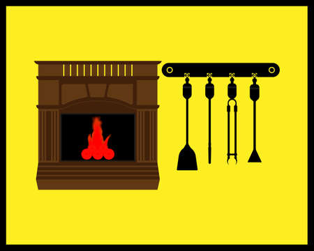 fireplace with wood and burning fire with a tool on a yellow background Illustration