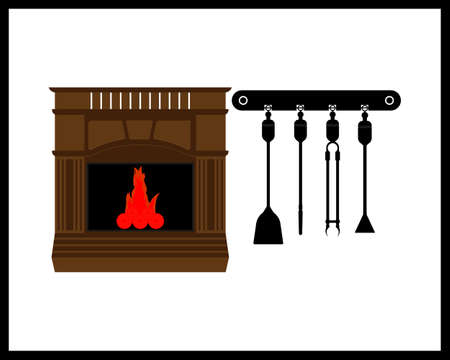 fireplace with burning fire and fireplace tool on white background Illustration