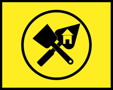 trowel and brush icon in a circle in black style on yellow background