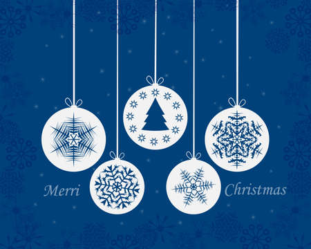 christmas card with toys and snowflakes on blue background Illustration