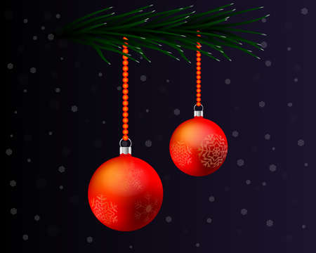 Christmas card with two toys and a twig of a Christmas tree with snowflakes on a dark background