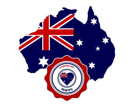 canberra day in australia map and sign on white background