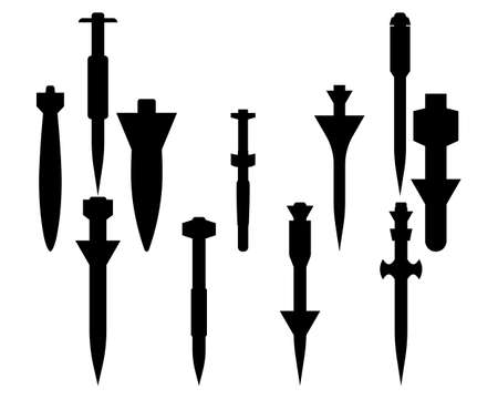 collection of different bombs in black colors on a white background Illustration