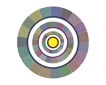 geometric shape in a circle of different colors