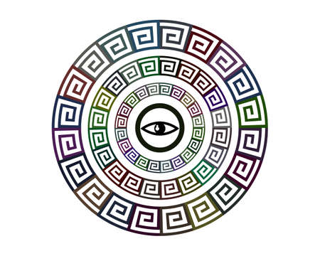 geometric patterns in a circle of different colors on a white background