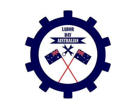 Labor Day Flag Australia two keys and inscriptions