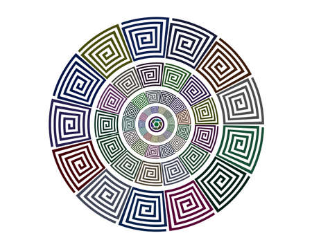 patterns in a circle of different colors on a white background Illustration