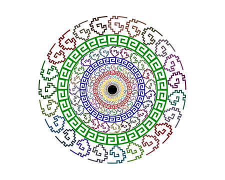 patterns in a circle of different configurations of different colors on a white background