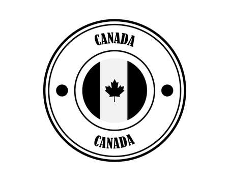 round stamp with the inscription CANADA in black on a white background