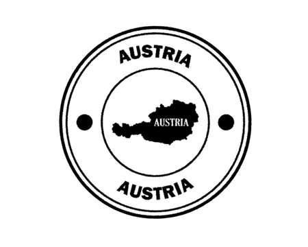round blurred austria stamp with lettering in black on white background