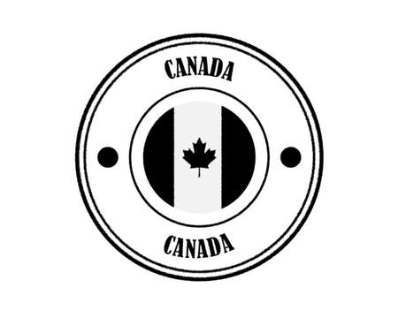 round blurry stamp with CANADA wordmark in black over white background