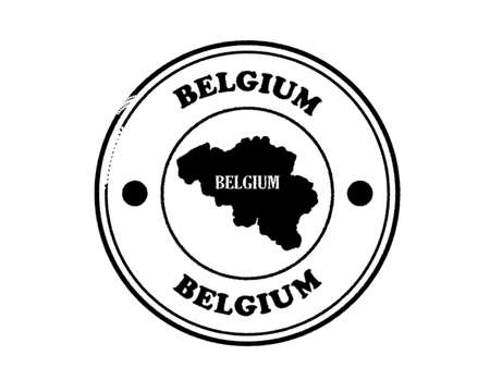 round blushed belgium stamp with lettering in black on white background Standard-Bild