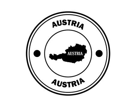 Austria round stamp with inscription in black on a white background