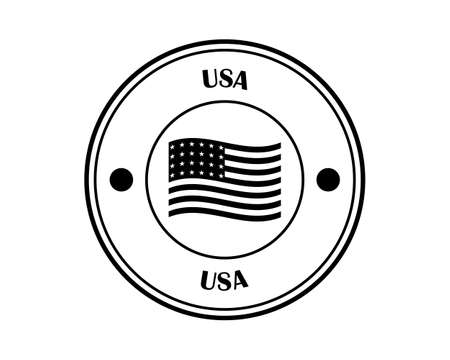 round stamp with the words United states of america and the flag in black on a white background
