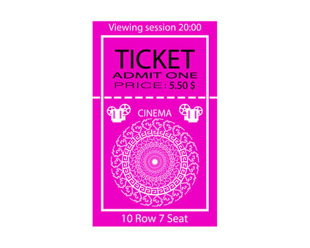 cinema ticket with place and watch time inscriptions on white background