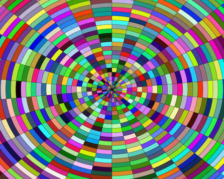 background abstraction in a circle of geometric shapes of different colors Illustration