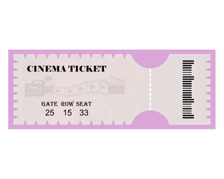 cinema ticket with inscriptions and codes on a white background