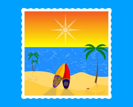 beach sand water sky sun surfbord palm starfish crab on a blue background