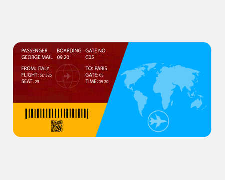 flight ticket with inscriptions on a white background