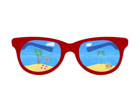 glasses overlooking the beach sea clouds umbrella stones ball and palms Standard-Bild