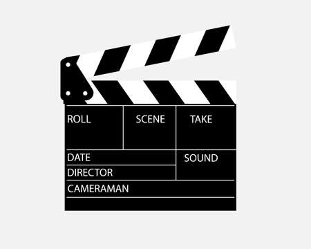 movie clapperboard director for cinema with inscriptions on a white background
