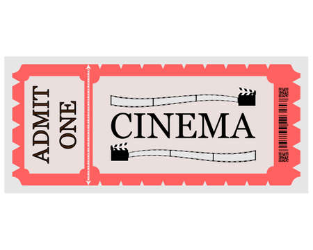 cinema ticket with inscriptions and drawings on a white background