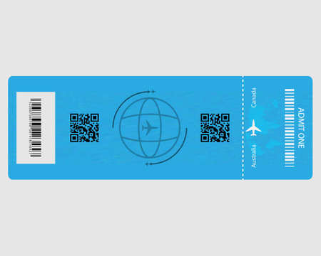 airplane ticket with inscriptions in blue on a light background Illustration