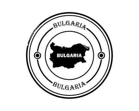 round blurred bulgaria stamp with inscription in black tone on white background