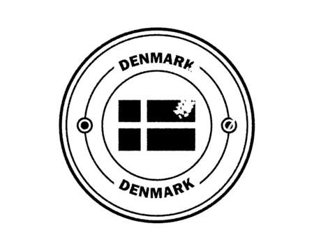 round blurred stamp of denmark with inscription in black on white background