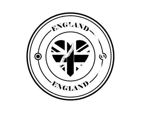 round blurry england stamp with lettering in black on white background